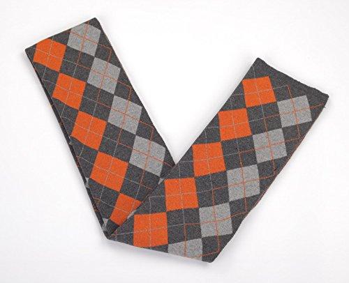 Smile YKK Foulard Hiver Homme Echarpe Longue Classique Motif Carreau Mode Orange