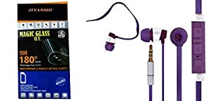Jiyanshi Combo of Screen Guard / Screen Protector & Earphone With Super Sound Purple Compatible For Micromax Canvas Knight 2 E471