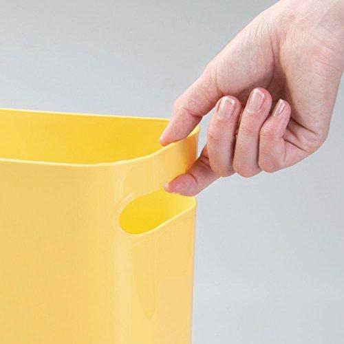 mDesign Bidone spazzatura con maniglie - Ideale come contenitore per rifiuti o anche come cestino gettacarte - In robusta plastica - Per cucina, bagno e ufficio - Design moderno