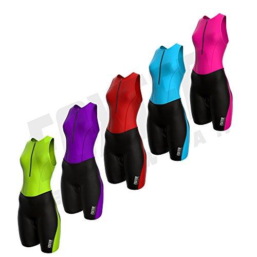 Foxter Triathlonanzug für Damen, dreiteiliger hautenger Rennanzug für Frauen zum Laufen, Schwimmen, Radfahren, shocking pink, Large
