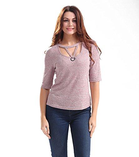 Ärmel Eleganz Show Shirt (Good dress Hohl Ärmel stricken Tops T-Shirts,lila,M)