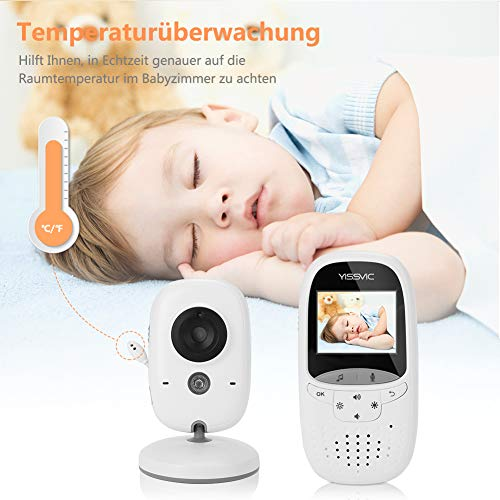 Yissvic Babyphone 2.4GHz mit Kamera Wireless Video Baby Monitor Nachtsicht Gegensprechfunktion Temperatursensor 2.0 Zoll LCD - 4
