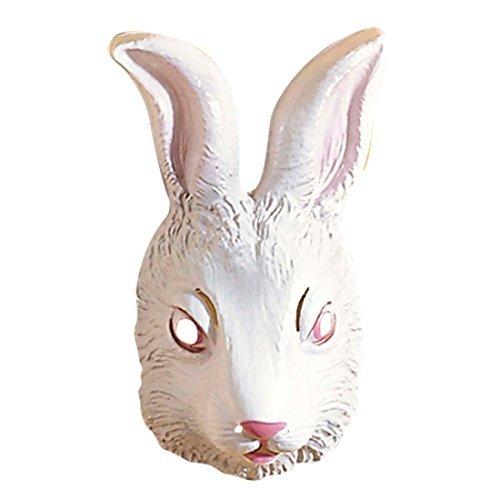 ke weiß Hase Maske Kaninchen Tiermaske Kostüm Zubehör Fasching Bunny (Das Weiße Kaninchen Kostüme)