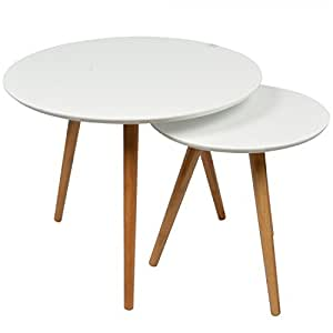 2 tables basses gigognes rondes blanches Lagan
