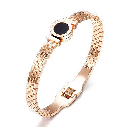 ZSML Female Rose Gold Watch Band Bangle, römische Ziffern Schutz offenes Armband Titanium Stahl Schmuck