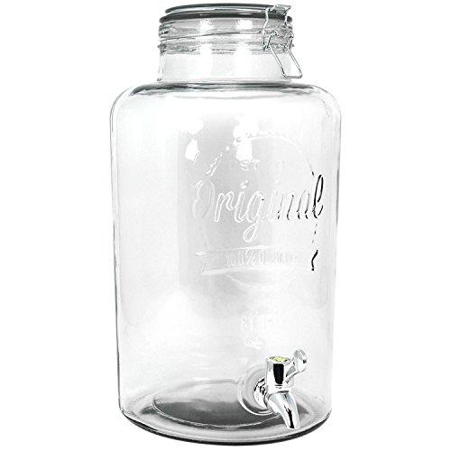 COM-FOUR® Dispensador de bebidas de vidrio en frasco de conservas Diseño con cierre de grifo y clip, 8 litros (01 pieza - 8 litros V2)
