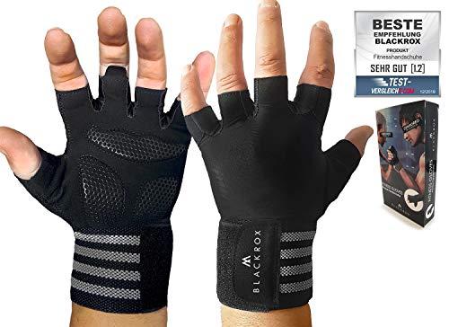 BLACKROX Trainingshandschuhe Vergleichssieger Fitness Handschuhe mit Handgelenkstütze Herren u. Damen, Handschuhe für Kraftsport, Gym Gloves Fitnesshandschuhe, Bodybuilding (Schwarz, XL)