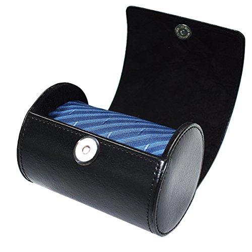 SANQIANWAN Fashionable Business PU Leder Krawatten Box 12 x 9 x 9 cm Zylinder-Form Krawattenhalter (schwarz)