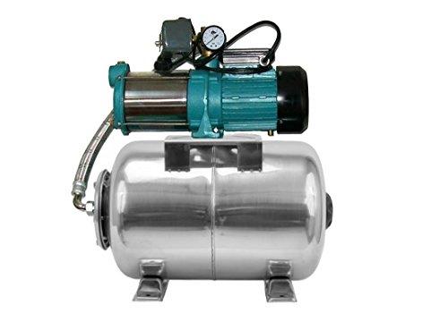Pompa di Irrigazione Pompa da giardino per pozzi 1100W, 230V, 95L/min + Pallone Compressore acciaio inox 80L