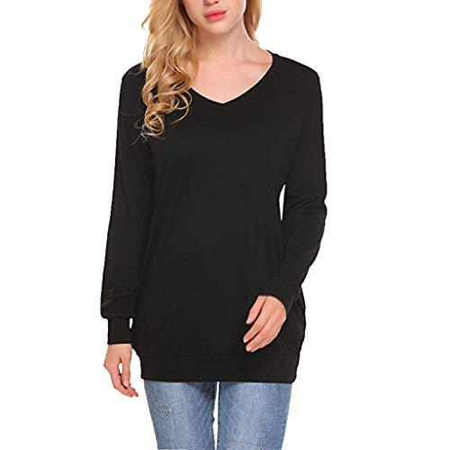 GreatestPAK Damen Hemd Lange Ärmel Einfarbig V-Ausschnitt Taschen -