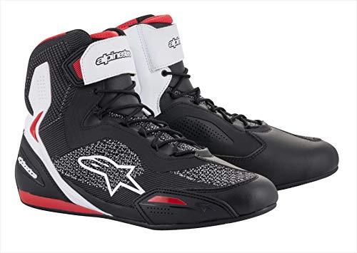 Alpinestars Stivali da moto Faster-3 Rideknit Shoes Black White Red, Nero/Bianco/Rosso, 41
