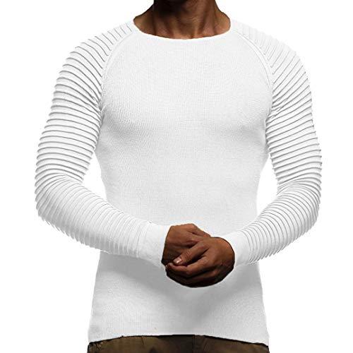 Cloom maglietta uomo elegante, manica lunga girocollo t shirt muscolo stampa camicetta slim fit maglietta da uomo camicie da uomini tees tops piega barra verticale polo(bianco,m)