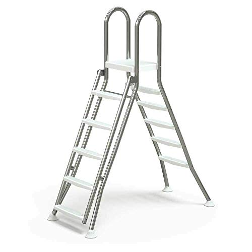 Well2wellness® Escalera Plegable de Acero Inoxidable V2A, 5/5 peldaños para Piscinas de hasta 1,50...