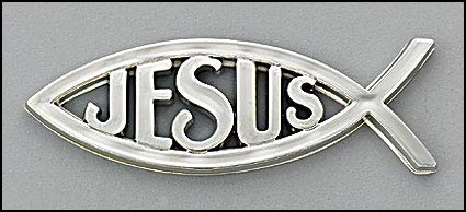 Chrome Finish Auto Emblem/Anstecker Fisch mit Jesus ~ Christliches Symbol -