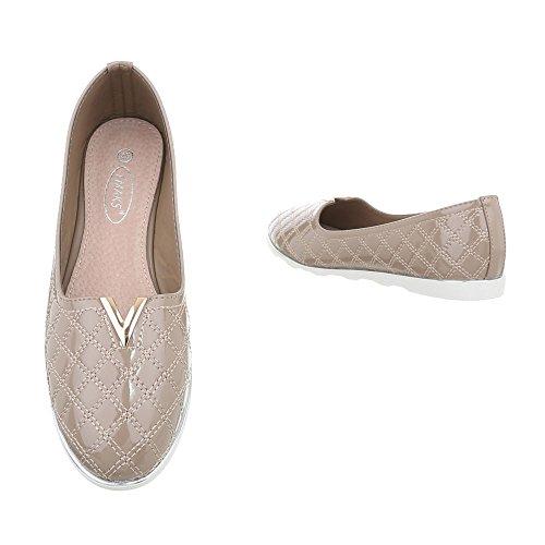 Ital-Design Chaussures Femme Mocassins Plat Slippers bronzage J15E