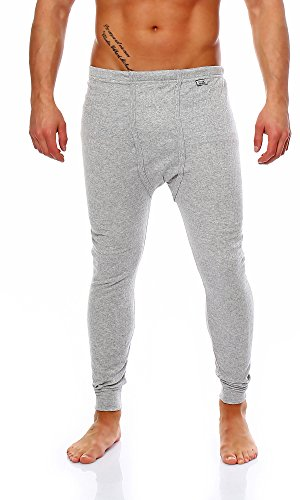 BAKIS Caleçon long thermique pour homme, côtelé, disponible en différentes tailles et couleurs -  gris - XX-Larg