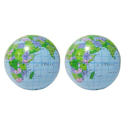 TOYMYTOY Aufblasbare Weltkugel Earth Map Educational Beach Ball Spielzeug 2 Stück zu Spielen