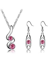 Dual Solitaire Pink Champagne CZ Stone 0.75CT (x4) 3 Piece Crystal Jewellery Set By DIOVANNI