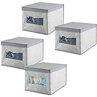 mDesign Organizador para armarios (juego de 4) – Cajas de plástico para ropa, joyas o cosméticos – Separador de cajones de color gris – Cajas con tapa