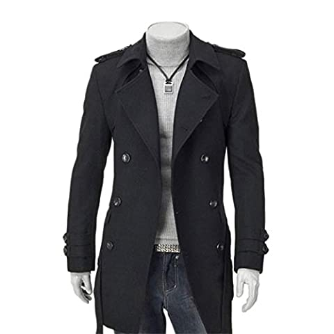 Sichyuan Mens Fashion Double Breasted Pea Coat Trench Coat,Slim Fit Classic Wool Long Jacket Overcoat For Winter/Autumn.