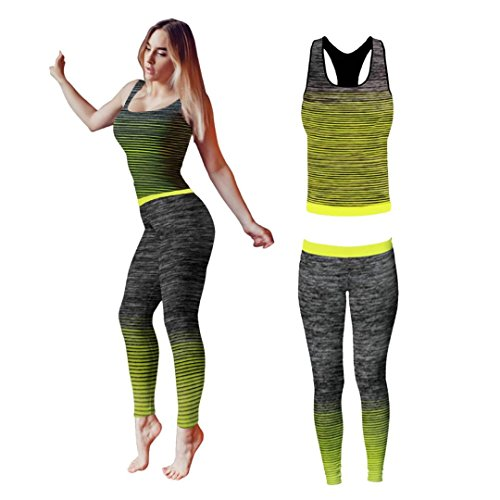 Bonjour® - Set di canotta e leggings, da donna, elasticizzati, abbigliamento sportivo, set per yoga e palestra, Yellow Vest Top, One Size ( UK 8 - 14 )
