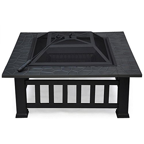 Outdoortips Garden Metal Fire Pit Brazier Square Table Patio Heater Stove With Rain&Dust Protective Cover