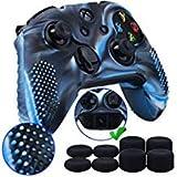 9CDeer 1 * Clouté Protecteur Silicone Peau Cas Skin Cover Case + 8 Thumb Grips Analogiques pour Manette Xbox One/S/X Camouflage bleu Compatible avec Adaptateur de Casque Stéréo Officiel