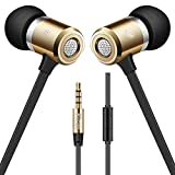 PTron Unison Headphone Wired Earphone in-Ear Headset with Mic for All Smartphones (Gold)