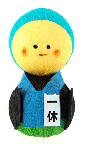 Tierra Zen kP2201 – Culbuto okiagari Moine ikkyu-san, 4.5 x 3 x 4 cm, Couleur Bleu