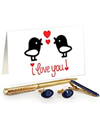 TiedRibbons® Valentine's Day Special Gifts For Husband Golden Cufflinks,Tiepin And Pen Combo Set With Valentine's...