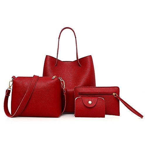 REALIKE Damen 4 In 1 Handtasche Set Geldbeutel PU Leder Umhängetasche Litchi Schultertasche Kette Henkeltaschen Mode Messenger Tasche Sportbeutel Reisetaschen Brieftasche (Rot, M) (Und Brieftasche 1)