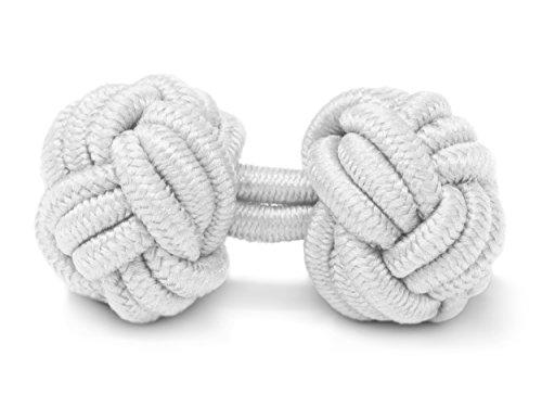THE SUITS CREW Manschettenknöpfe Seidenknoten Herren Damen Nylon Stoff | Cufflinks Silk Knots für alle Umschlagmanschetten Hemden | Einfarbig (Weiss)