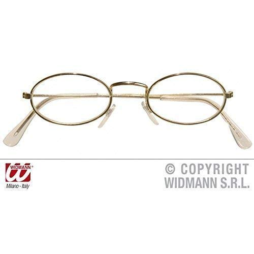 Brille mit goldenem Metallrahmen oval
