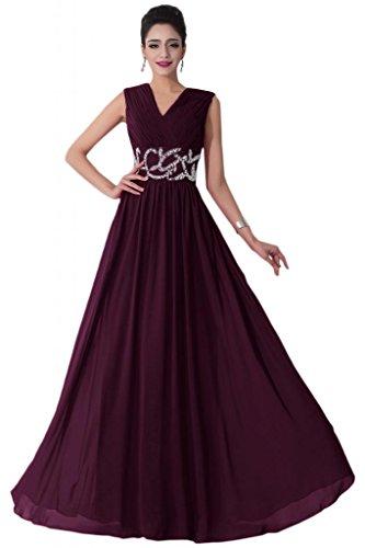 Sunvary Liebling V-Ausschnitt Abendkleider Lang Chiffon Cocktailkleider Brautjungfernkleider Partykleider Traube
