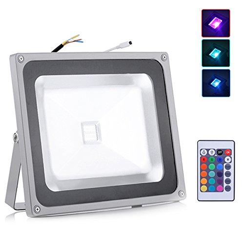 Zyurong® 50W LED RGB Projecteur 4800lm IP65 50W Floodlight Light extérieur ou intérieur avec télécommande