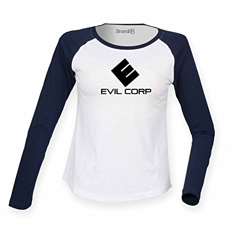 Brand88 - Evil Corp, Damen Langarm Baseball T-Shirt Weiss & Blau