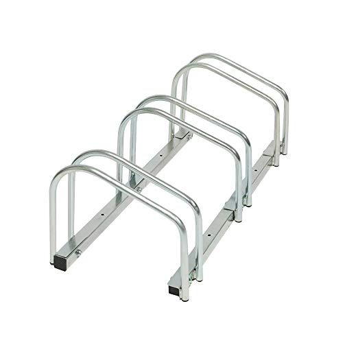 BY-Home Fahrradständer, Für 3 Fahrräder, Boden- und Wandmontage Fahrradaufbewahrung Für alle gängigen Reifenbreiten von 35-55 mm -