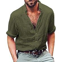 Camisas Casual Hombre Manga Larga, Covermason Blusa de Playa de algodón Henley para Hombres