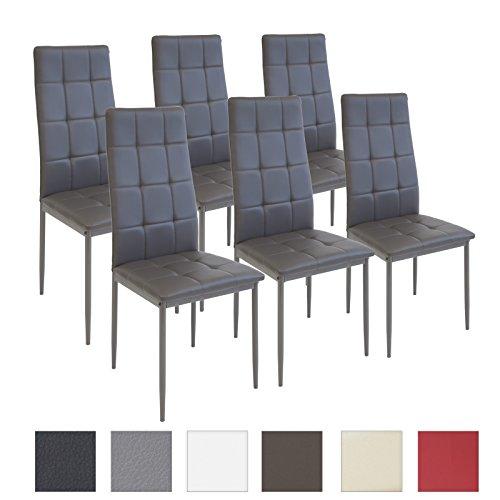 Albatros rimini - set di 6 sedie per sala da pranzo, colore: grigio