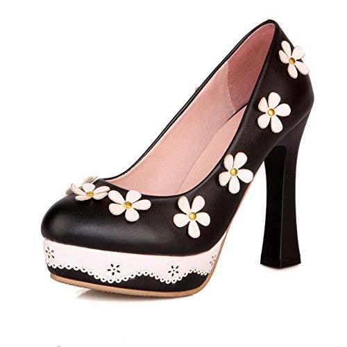 Odomolor Damen Hoher Absatz Rein Ziehen auf Weiches Material Rund Zehe Pumps Schuhe, Schwarz, 32