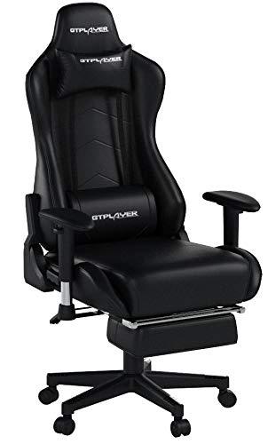 GTPLAYER Gaming Stuhl mit fußstützen Bürostuhl Schreibtischstuhl Kunstleder Gamer Stuhl Drehstuhl höhenverstellbarer PC Stuhl Ergonomisches Design und Wippfunktion(Schwarz)