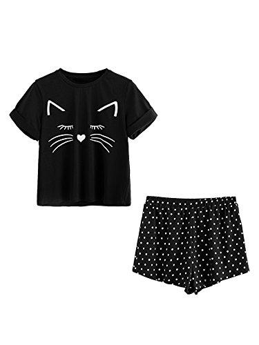 DIDK Damen Katzenmuster Shirt und Polka Dot Short Pyjama Set Schwarz S (Polka Dot Pyjama-shorts)