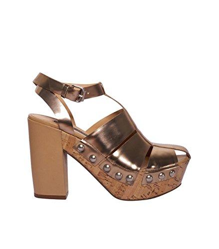 JANET & JANET Damen Schuhe Sandalen Sandaletten - Leder - gold oronaturale 41