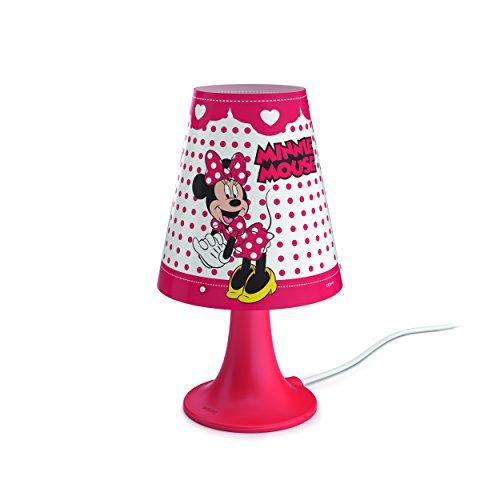Philips Disney Minnie Mouse - Lámpara de mesa portátil, luz blanca cálida, bombilla LED de 2.3 W, color rojo