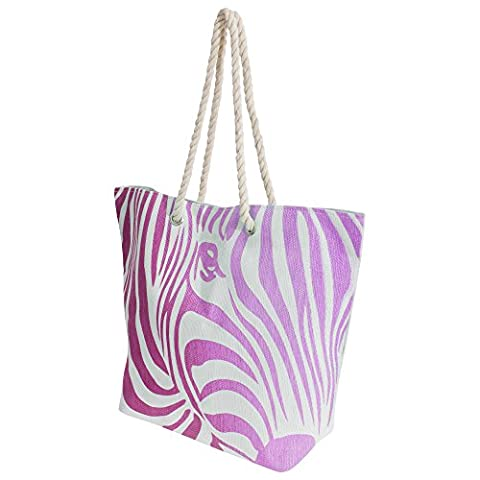 FLOSO® Womens/Ladies Zebra Stripe Patterned Straw Woven Summer Handbag (One Size) (White/Pink)