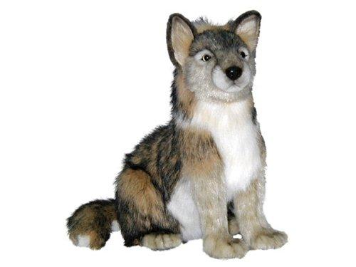 Plush Soft Toy Wolf Sitting by Hansa.32cm. 4291