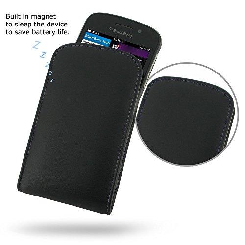 PDAir BlackBerry Q10 Leder Tasche (Lila Stich), Telefonkasten Echtleder Tasche Hülle Tasche, Handarbeit Prämie Vertical Tasche Für BlackBerry Q10 (NO Gürtelclip) (Blackberry Otterbox Q10)