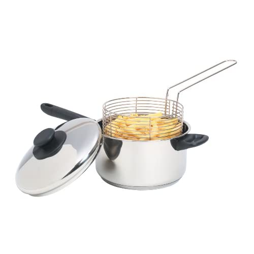 "41y4f2P8XtL. SS500  - KitchenCraft Large Stainless Steel Induction-Safe Chip Pan with Fryer Basket and Lid, 20 cm (8"")"