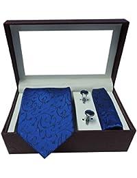 Riyasat - Self Design Blue Color Micro Fibre Men,s Tie, Cufflink and Pocket Square Gift Set .(S_092)