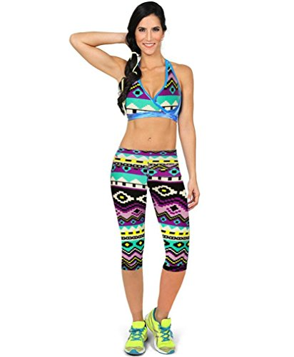 Amlaiworld Stretch ritagliata Leggings,Pantaloni a vita alta Fitness Yoga Sport stampato Stretch ritagliata Leggings (Multicolor, L)